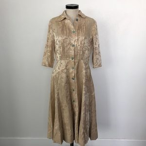 Vintage Long Sleeve Champagne Tea Dress Size M